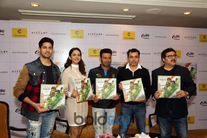 Siddharth Malhotra,Rakul Preet & Manoj Bajpayee At Launch Of Coffee Table Book Aiyaary In New Delhi